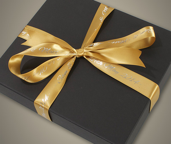 Black Album Box with Gold Ribbon