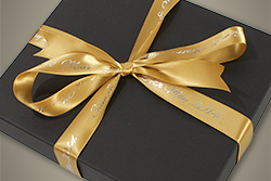 Black Wedding Album Box with Gold Ribbon